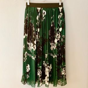 Rachel Zoe Midi Pleated Skirt, Green and black